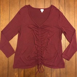 a new day Maroon Long Sleeve Ruched Front Top L